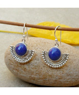 925 Sterling Silver Round Lapis Lazuli Dangle Hook Earrings Designer Lap... - $36.75