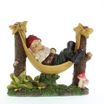 Lawn Gnome, Miniature Gnome Garden, Village Slumbering Gnome Statue Figu... - $28.93