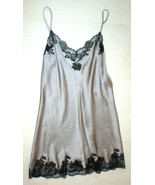 New NWT Designer Josie Natori Silk Lace Womens M Silver Black Chemise Go... - $256.75