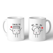 Come Here You Mua Mua Mua Matching Couple White Mugs - £18.71 GBP
