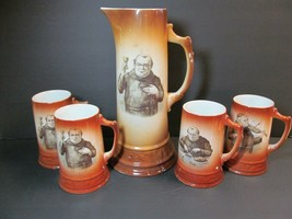 Friar Monk Porcelain Tankard Antique 5 piece BEER STEIN MUGS Oktoberfest  - $137.61