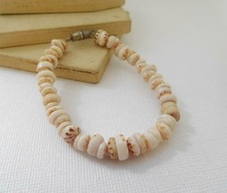 Retro 80s Brown White Cream Genuine Shell Bead Boho Beach Bracelet A6 - $13.59