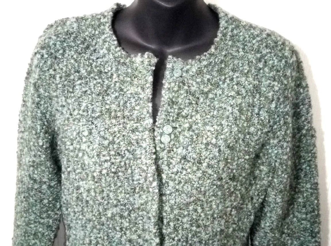 Talbots Petites Women's M Blue Green Wool Snap Buttons Sweater Cardigan image 3
