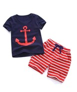 Clothing Set For Boys Toddler Short Sleeve Shirt Elastic Waist Short Wit... - $12.21+