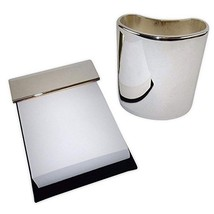 Silver Plated Desk Accessories - Pencil Cup and Memo Pad, Executive Styl... - €19,43 EUR