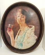 "Coca Cola Distressed Woman Glass Soda 15"" Vintage Coke Tray Replica Tin ... - $39.59"