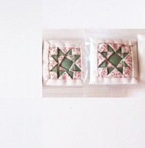 DOLLHOUSE Throw Pillow Pair Alice Lacy Olive Green & White w Sprigs Miniature - $3.71
