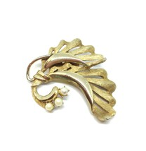 VTG Freshwater Pearls Fronds Leaf Brooch Pin, Classic Mid Century Gold Tone - $18.80
