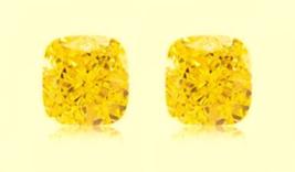 2 CUSHION SAPPHIRE 6x6 mm. CANARY YELLOW LOOSE HARDNESS 9 DIAMOND-SPARKLING - $24.99