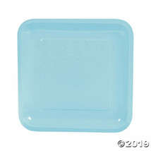 Light Blue Paper Square Dinner Plates, Set of 18, Choose from 18 colors - $13.14