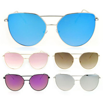 SA106 Womens Retro Flat Colored Mirror Metal Cat Eye Sunglasses - $12.95