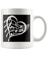 I love music,Heart, Cleft,Musical Notes,Black graphic on white mug,Music... - $15.95
