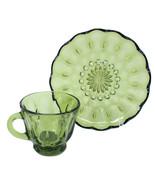 Anchor Hocking Vntg Fairfield 1200 Avocado Green Depression Glass Cup Sa... - $22.76