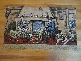 """Vintage FAMILY BY THE HEARTH Fringed Tapestry Wall Hanging Rug - 26.5"""" X... - $19.80"""