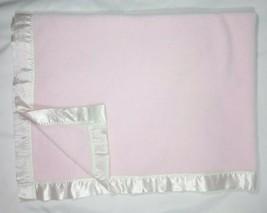 ANGEL DEAR Baby Girl Pink Fleece Blanket With Off White Satin Trim 30x40 EUC - $15.68