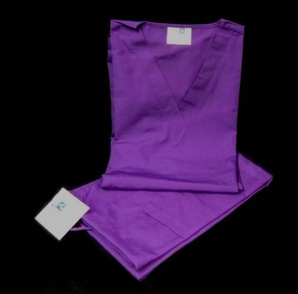 Purple Scrub Set Large V Neck Top Drawstring Pants Unisex Adar Uniforms New image 3