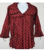 Flair Red Black Polka Dot Crinkle Jacket S Drawstring Cuffs Waist Super ... - $39.55