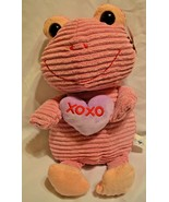 Pink Frog Purple Heart XOXO Valentine Stuffed Plush Hug Fun Soft Cuddly NWT - $19.79