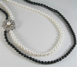SOLID 18K WHITE GOLD NECKLACE WITH ROUND PEARLS, ONYX AND DIAMONDS MADE IN ITALY image 2
