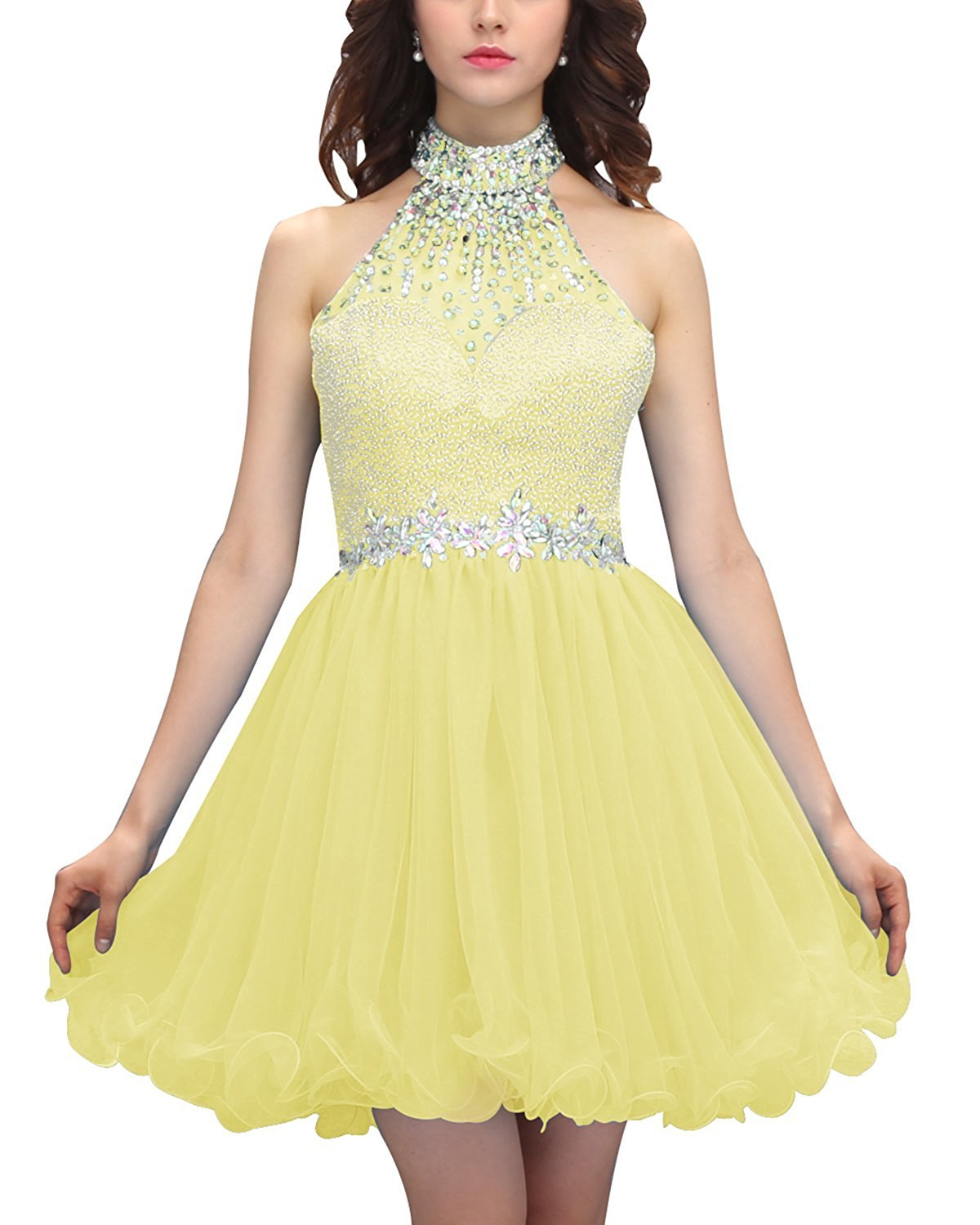 Primary image for Short Halter Beaded Homecoming Dress Tulle Prom Dress Formal Cocktail Dresses