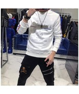 Men's Hot Drill Bottoming Shirt Round Neck Trendy Long Sleeve Sweater - $46.59