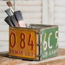 Rustic LICENSE PLATE BOX Country Primitive Farmhouse Holder Storage Bin ... - $35.99