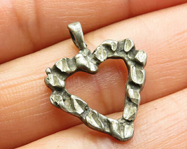 925 Sterling Silver - Vintage Retro Etching Love Heart Pendant - P5247 - £14.53 GBP