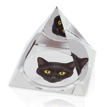 "Black Cat Yellow Eyes Illustrated Animal Art 2"" Crystal Pyramid Paperweight - $15.99"