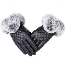 Women Gloves Hand Winter Autumn One Size Warm Thick Leather Fur Elegant ... - $7.75