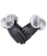 Women Gloves Hand Winter Autumn One Size Warm Thick Leather Fur Elegant ... - $7.92
