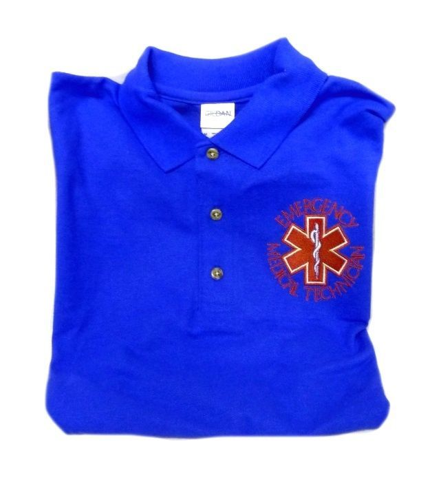 EMT Polo Shirt Emergency Medical Technician L Star of Life Royal Blue Silver SS