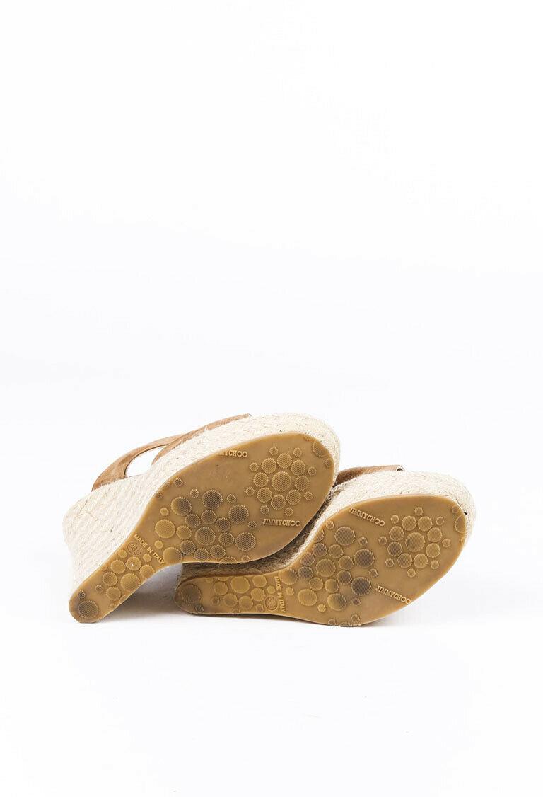 Jimmy Choo Poplar Espadrille Wedge Slide Sandals SZ 36.5