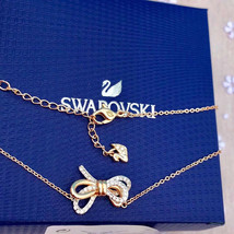 Swarovski crystal Ribbon Tied bowknot Necklace pendant best gift - $34.58