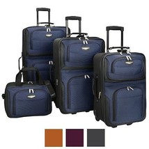 Rolling Luggage Set Expandable 4 Piece World Traveler Travel Carry Blue Suitcase - $153.14