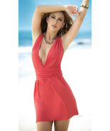 Espiral Deep V Neck Tie Mini Dress w/ Knotted Criss Cross Back 4934 - $27.99