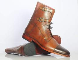 Bespoke Brown Leather Cap Toe Buckle Ankle Boots For Men's - $159.97 - $179.97