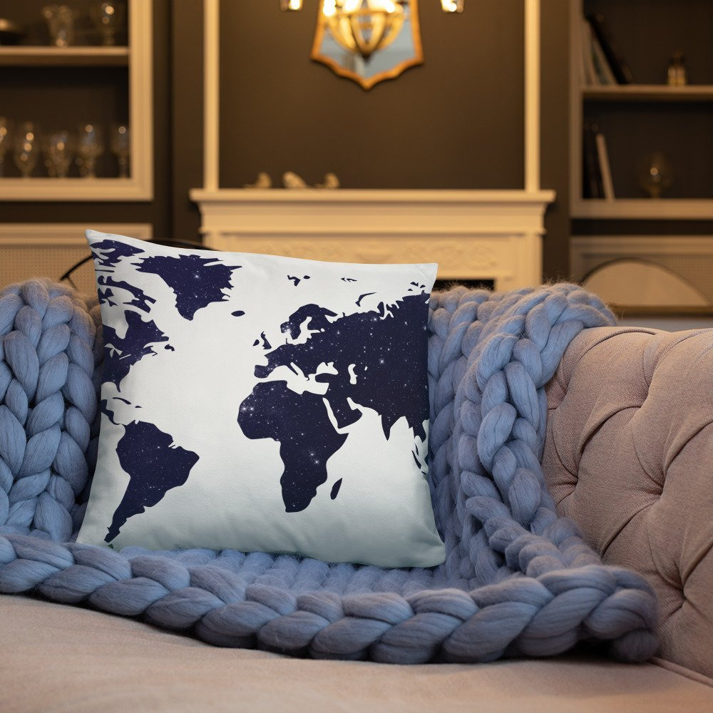 Basic Pillow world blue design with a sensitive touch