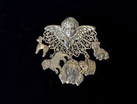 ANGEL CUPID Brooch Pin with 5 Dangling DOG Charms in Brass-Tone - 2 inches - $25.00