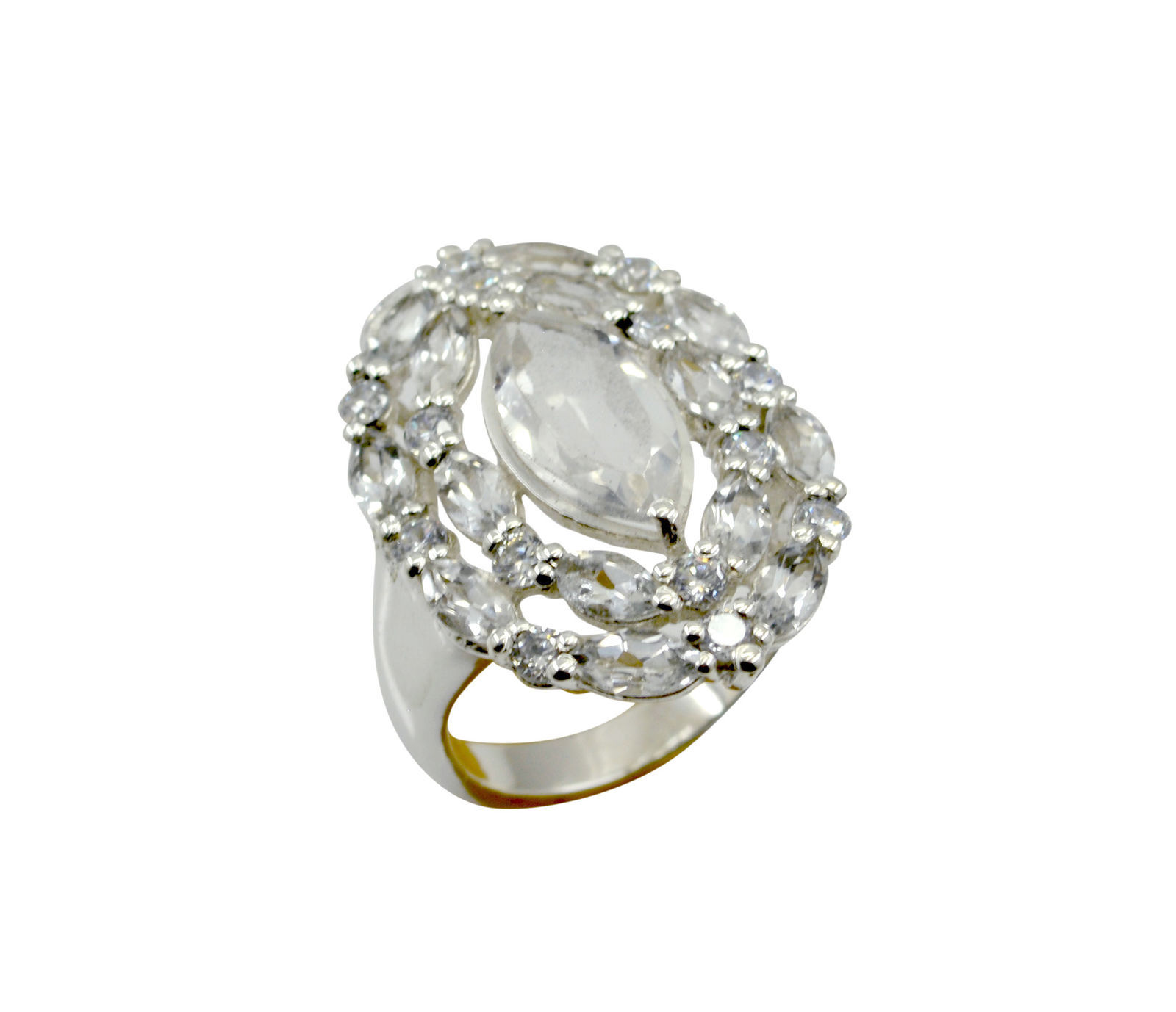 pleasing White CZ 925 Solid Sterling Silver White Ring genuine simply US
