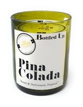 PINA COLADA SCENTED GREEN GLASS BOTTLE CANDLE 50 HOURS BURN TIME H10 X W... - €18,64 EUR