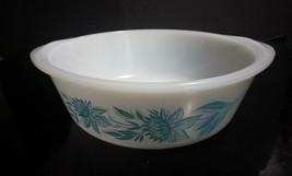 Vintage Jeannette Glasbake Milk Glass 2 Qt Casserole Bowl w/ Aqua Flower... - $9.41
