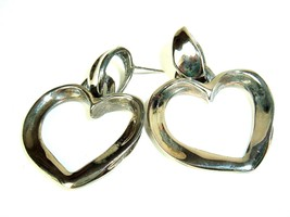 Robert Rose Mod Vtg 80s Heart Pierced Earrings Silver Tone Hippie Boho Chic - $15.95