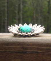 Vintage Sarah Cov Coventry Green and White Rhinestone Lotus Flower Sun B... - $35.00