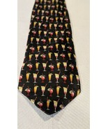 Utopia tropical drinks necktie Themed Tie black background 100% silk - $9.89