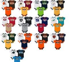 NFL Infant Boy's Playmaker Bodysuit 3-Pack Set Newborn Baby Football NEW