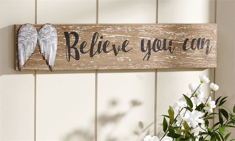 "23"" Long Angel Wing Design Wall Plaque w ""Believe You Can"" Sentiment NEW"