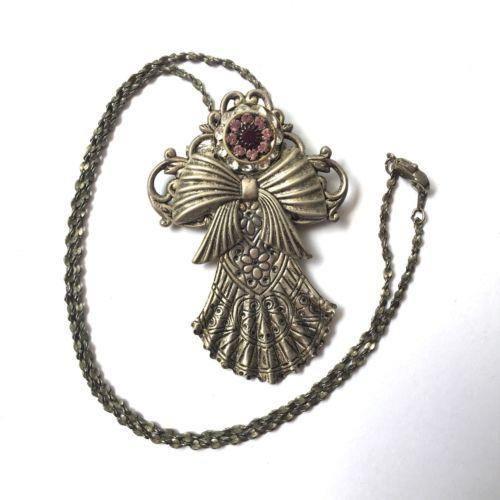 Vintage Angel Brooch Pin Pendant Necklace Earrings Set Purple Rhinestone Flower