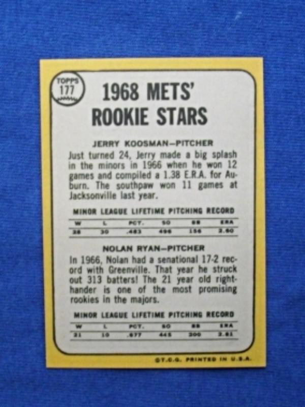 1968 Topps Baseball #177 Nolan Ryan [] New York Mets (RC) Repro