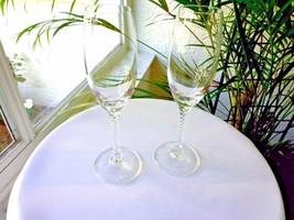 Set of 2 Studio Nova Clear Crystal Venice Pattern Champagne Flutes - $14.85
