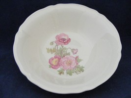 "Knowles Large Pink Wild Rose Green Stem 8 5/8"" Serving Bowl Scalloped Ed... - $19.95"